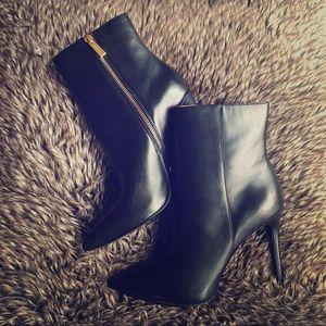 Michael Kors Leona black leather heeled booties